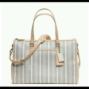 Coach striped canvas diaper bag